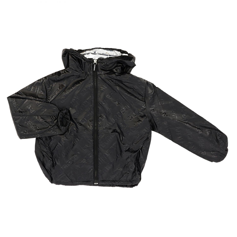 Giacca Burberry: Giacca di nylon Burberry con cappuccio e logo all over nero 1