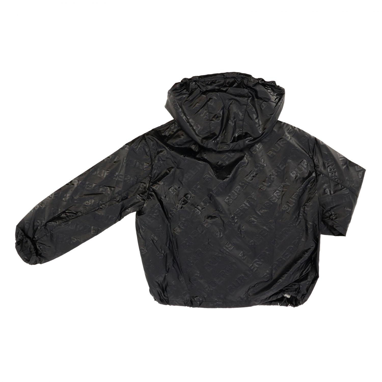 Giacca Burberry: Giacca di nylon Burberry con cappuccio e logo all over nero 2
