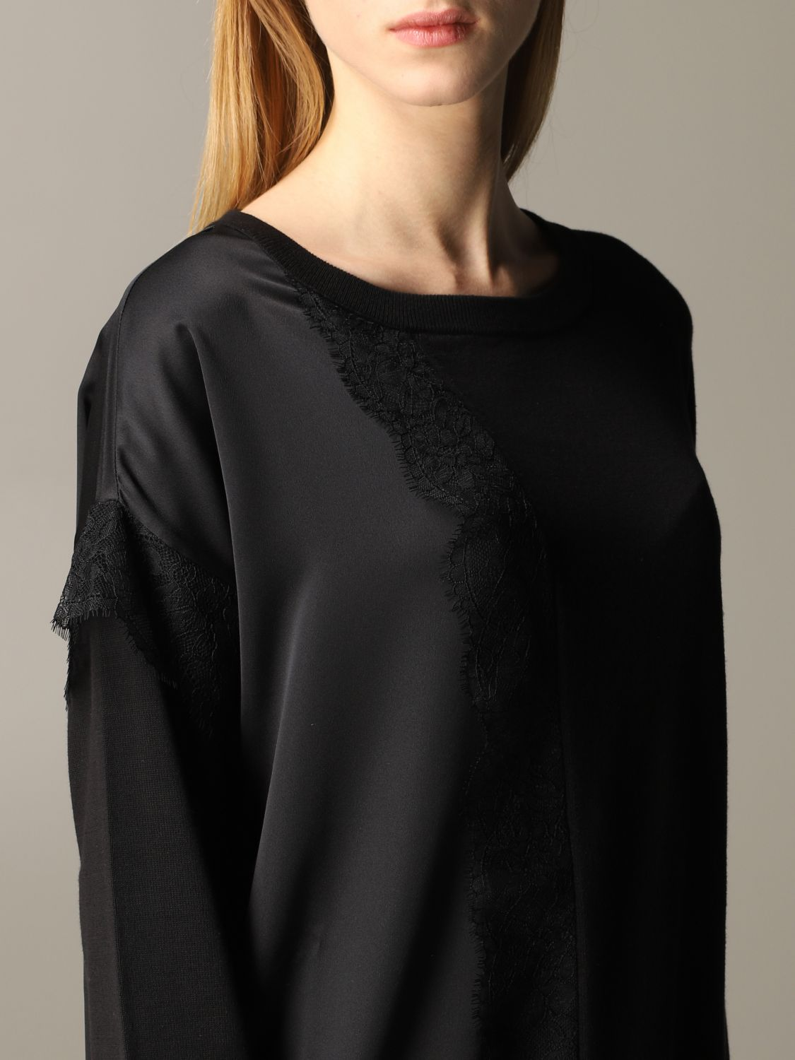 Twin-set sweater with lace inserts black 5