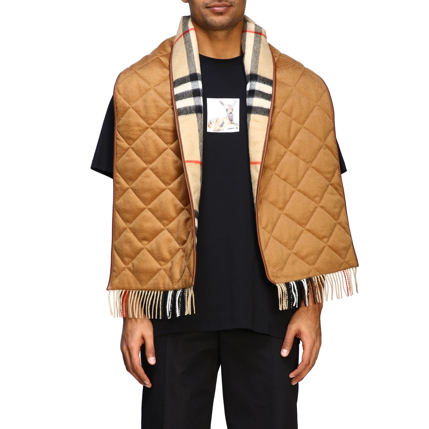 Sciarpa Burberry double face in cashmere con fantasia check beige 1