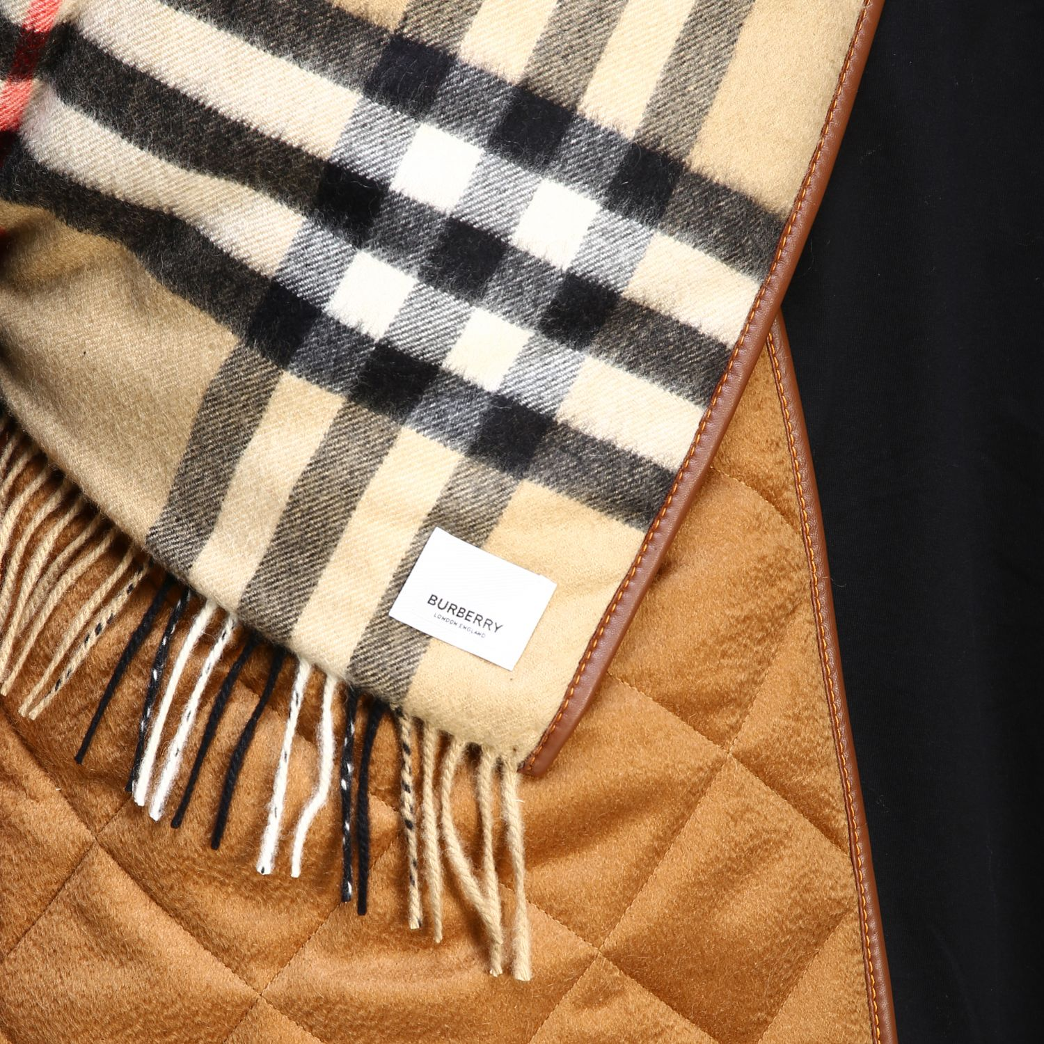 Sciarpa Burberry double face in cashmere con fantasia check beige 3