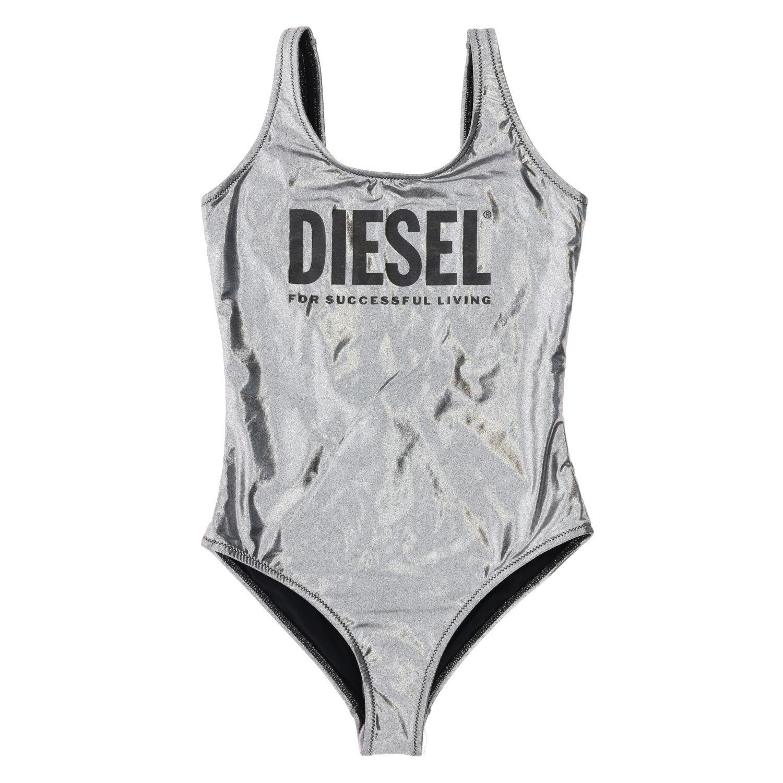 Costume Diesel: Costume Diesel intero in tessuto laminato con stampa logo grigio 1