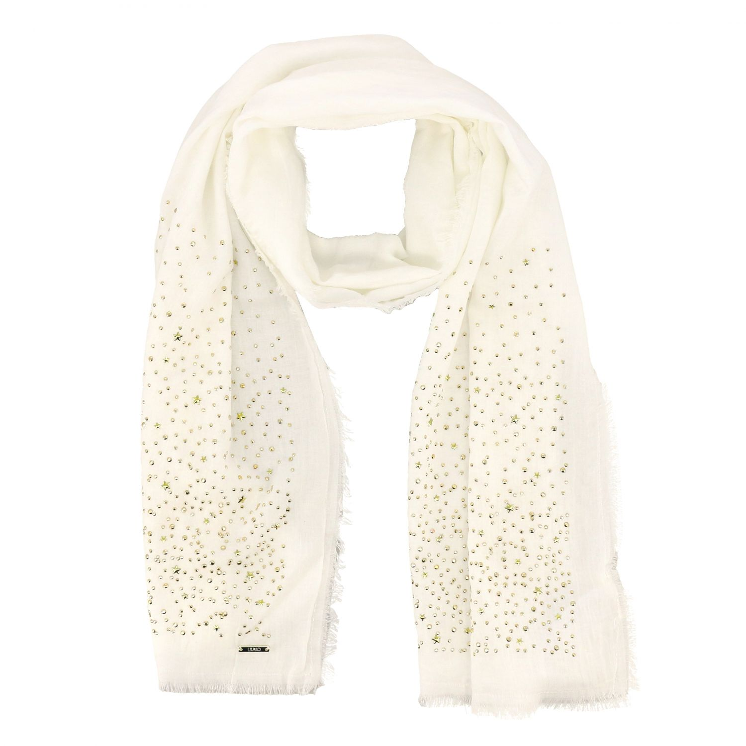 Neck scarf Liu Jo: Liu Jo scarf with all-over rhinestones white 2