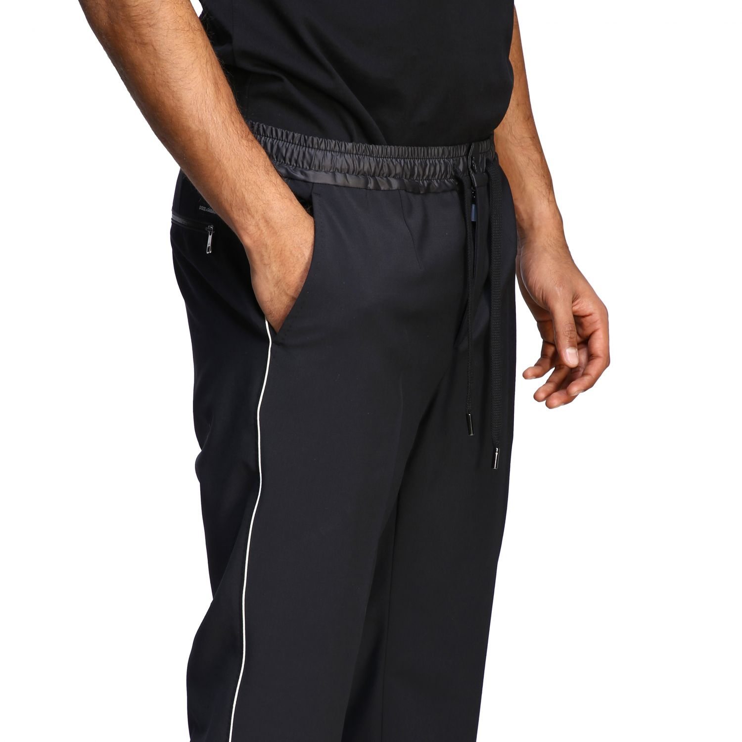 Pants Dolce & Gabbana: Dolce & Gabbana jogging style trousers with colored edges black 4