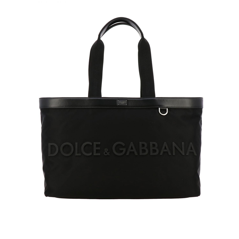 Tasche Dolce & Gabbana: Dolce & Gabbana Nylon Tasche mit großem Logo schwarz 1