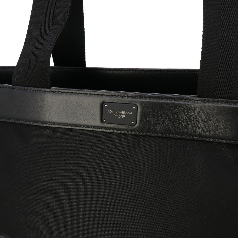 Tasche Dolce & Gabbana: Dolce & Gabbana Nylon Tasche mit großem Logo schwarz 3