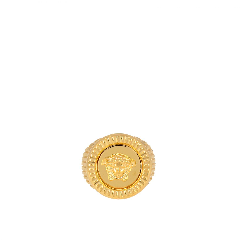 Кольцо металлическое с печатью медузы Мужское Versace золотой 1