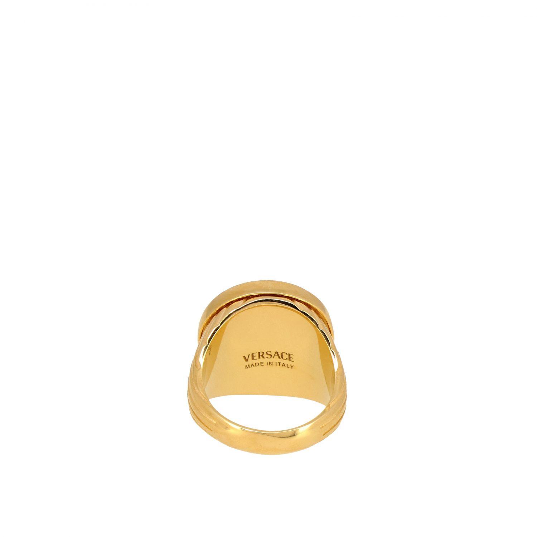 Кольцо металлическое с печатью медузы Мужское Versace золотой 2