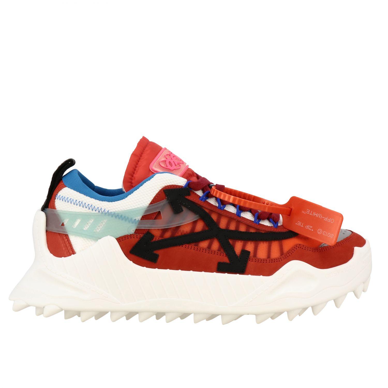 Sneakers Off White in pelle e rete con frecce rosso 1