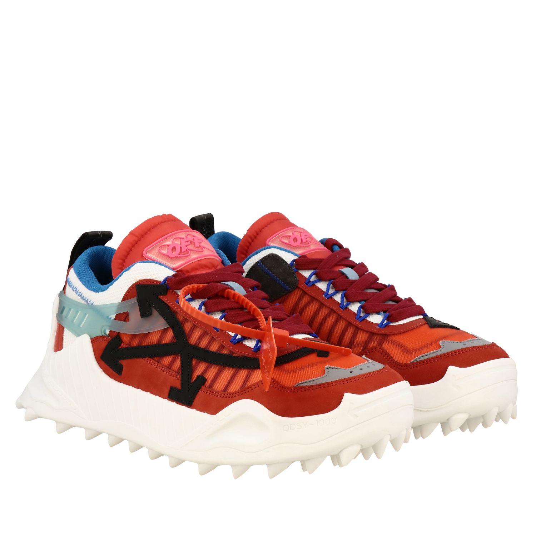 Sneakers Off White in pelle e rete con frecce rosso 2
