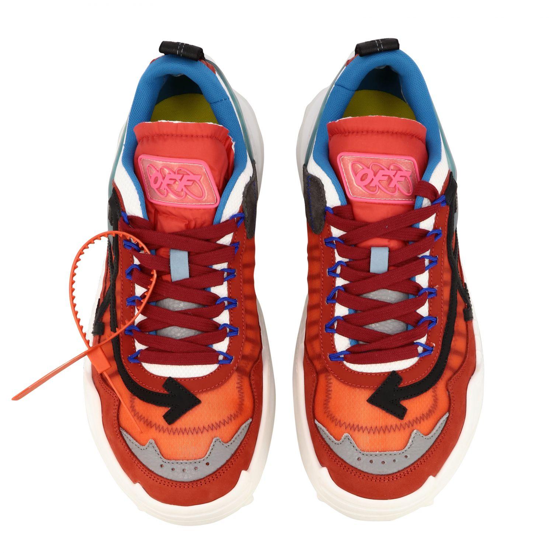 Sneakers Off White in pelle e rete con frecce rosso 3