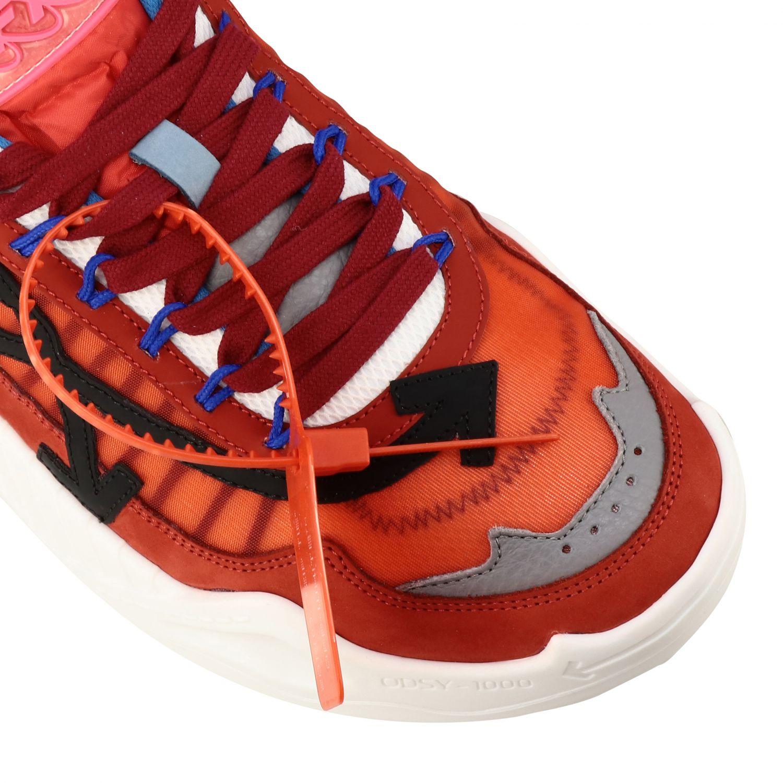 Sneakers Off White in pelle e rete con frecce rosso 4