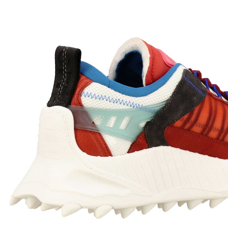 Sneakers Off White in pelle e rete con frecce rosso 5