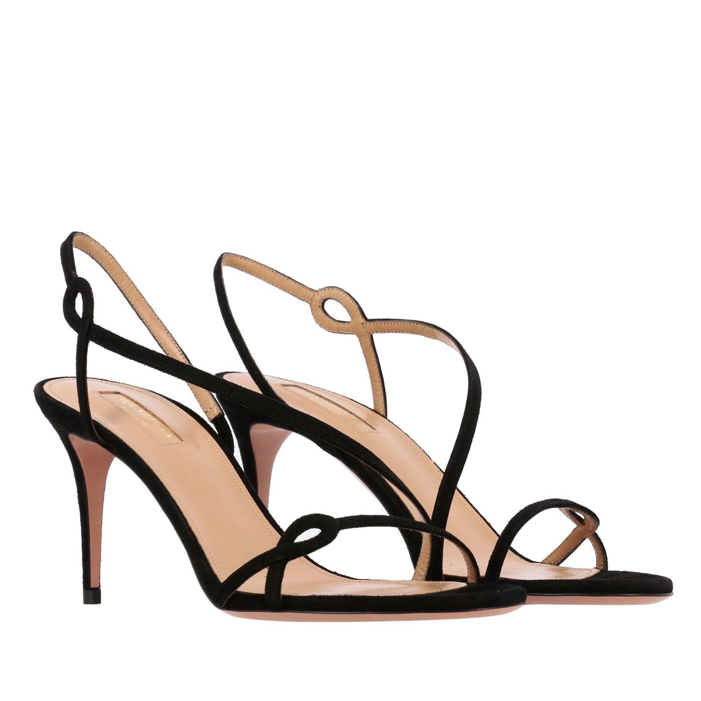 Sandalo Aquazzura in pelle scamosciata nero 2