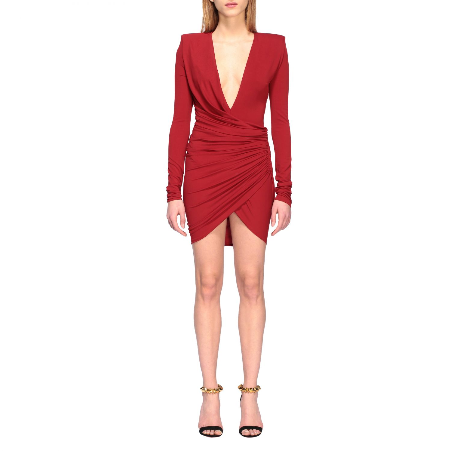 Dress Alexandre Vauthier: Alexandre Vauthier shaped and draped dress red 1