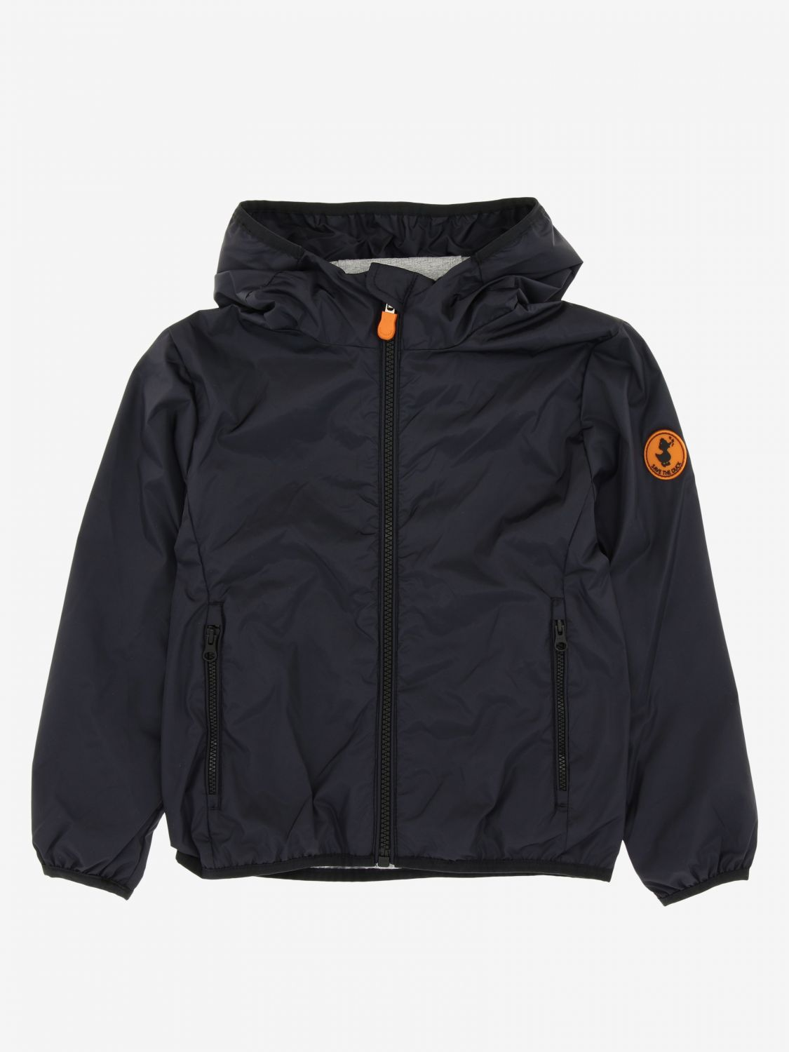 Save The Duck jacket with hood and zip black 1