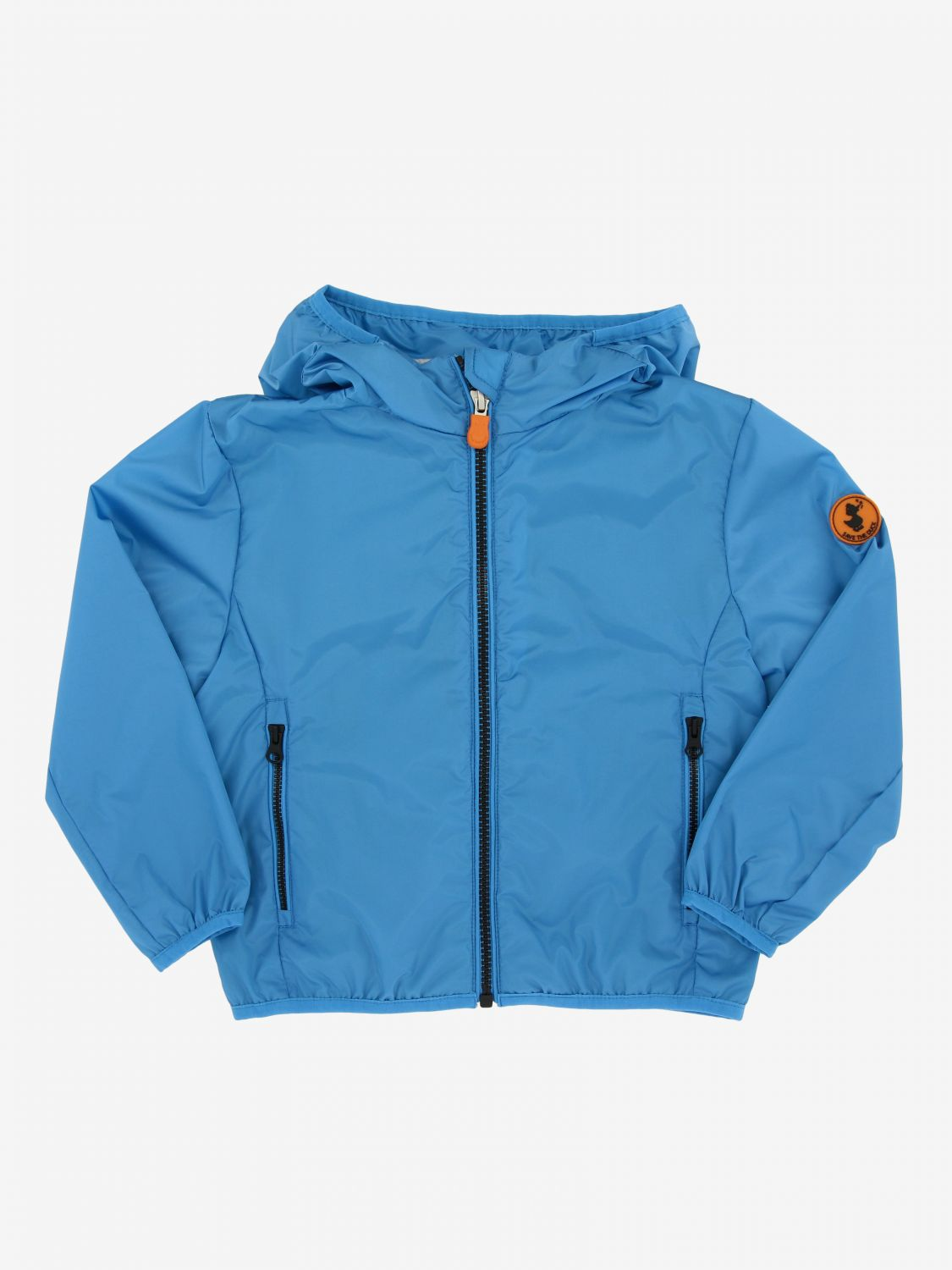 Save The Duck jacket with hood and zip blue 1
