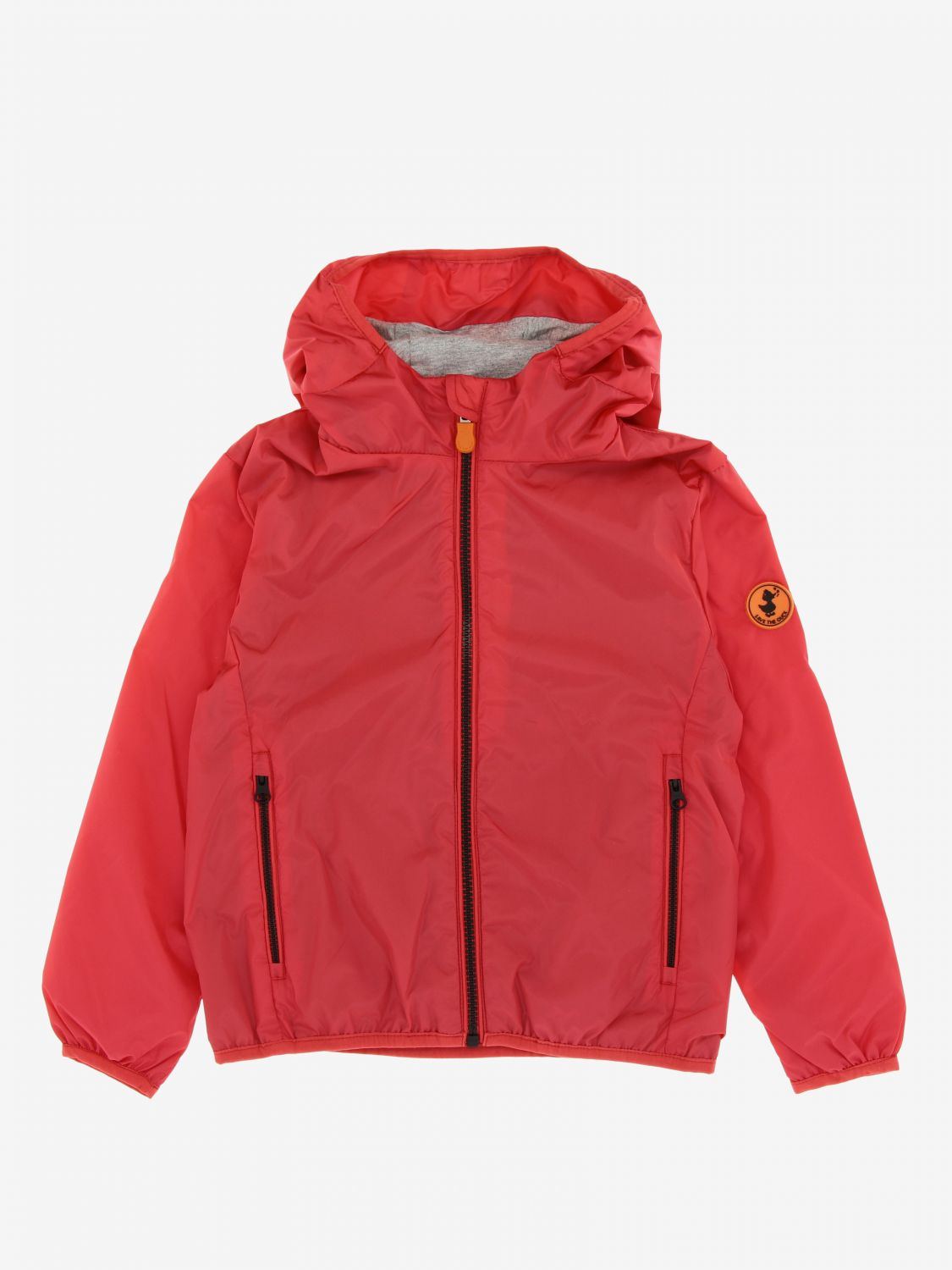 Save The Duck jacket with hood and zip red 1