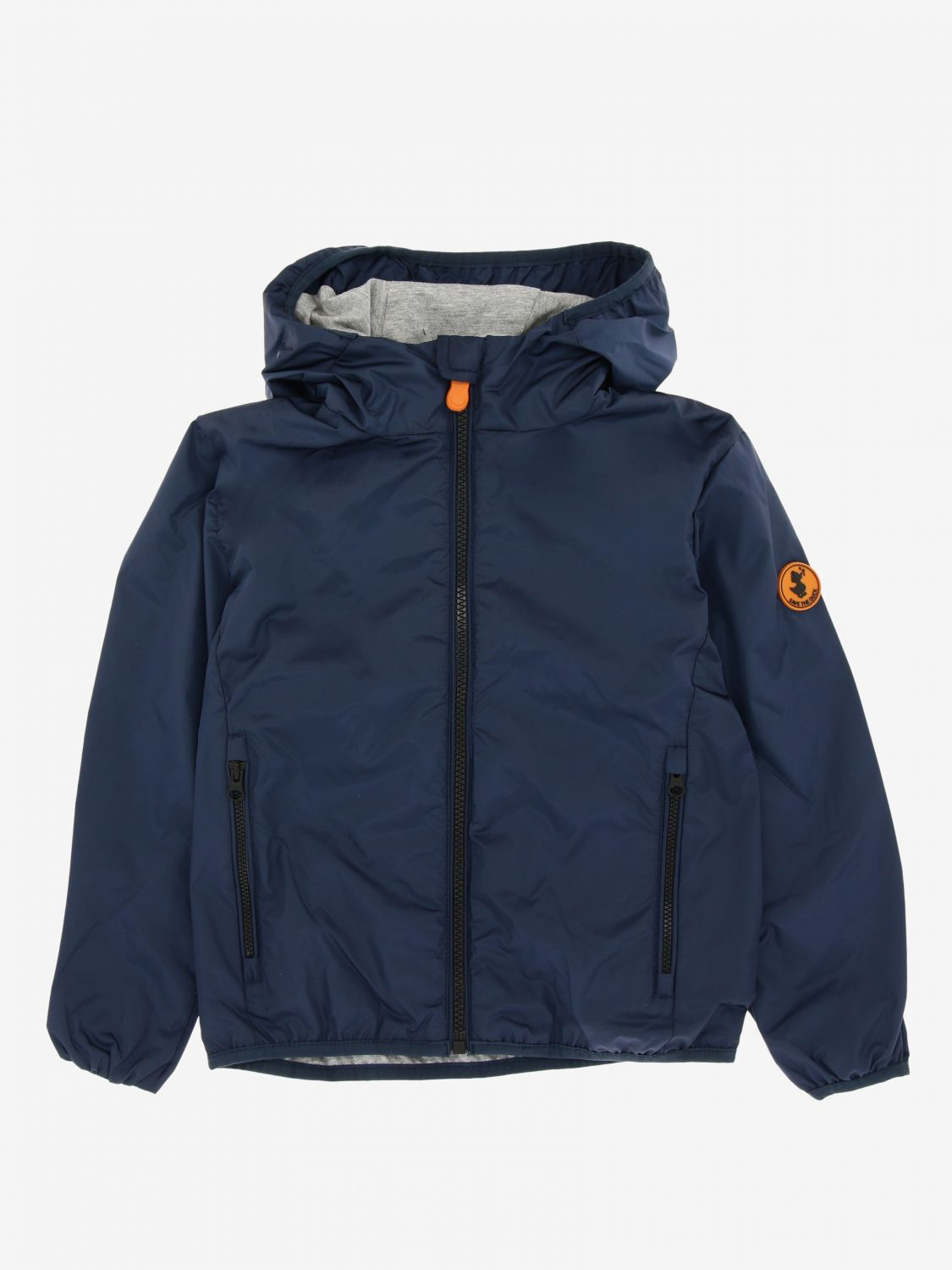 Save The Duck jacket with hood and zip blue 1 1