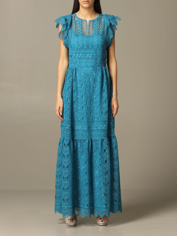 Robes Alberta Ferretti: Robe longue et brodée Alberta Ferretti bleu azur 1
