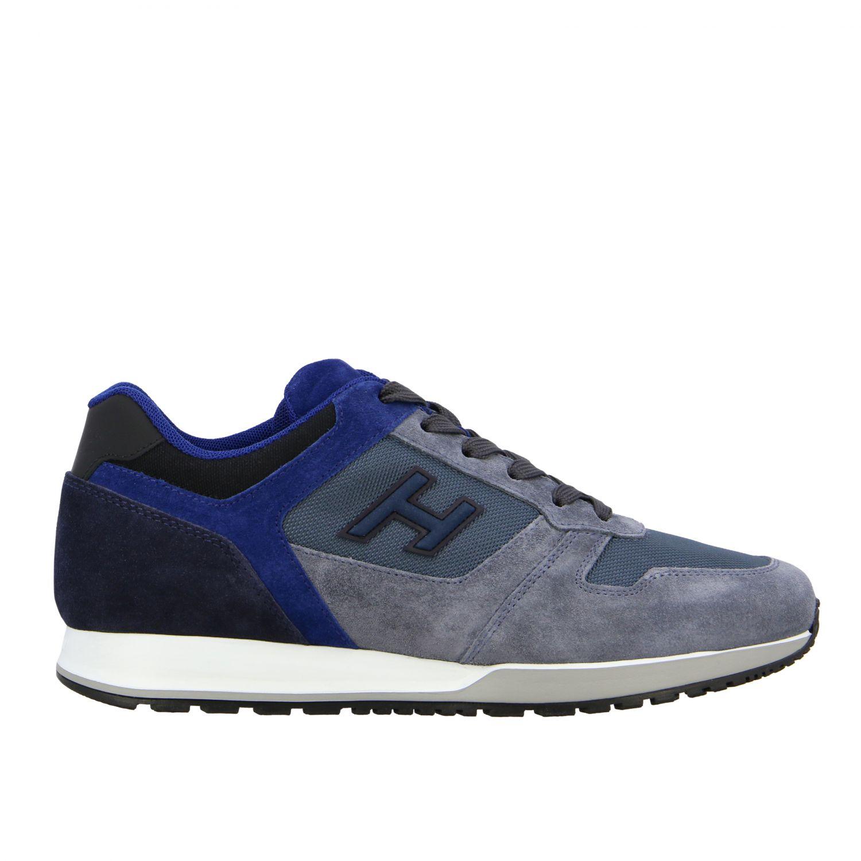 Sneakers running Hogan in camoscio e tela blue 1