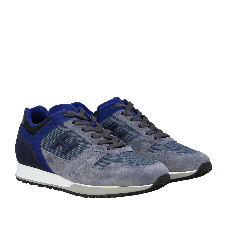 Sneakers running Hogan in camoscio e tela blue 2