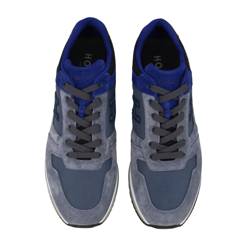 Sneakers running Hogan in camoscio e tela blue 3