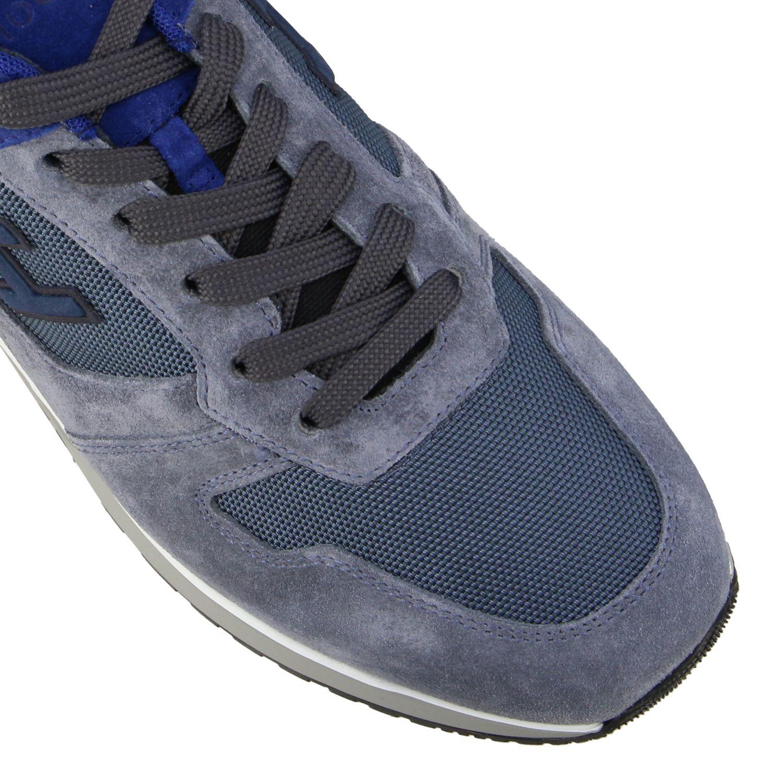 Sneakers running Hogan in camoscio e tela blue 4