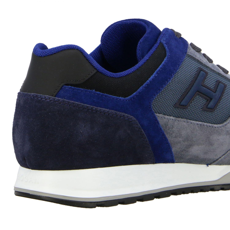 Sneakers running Hogan in camoscio e tela blue 5