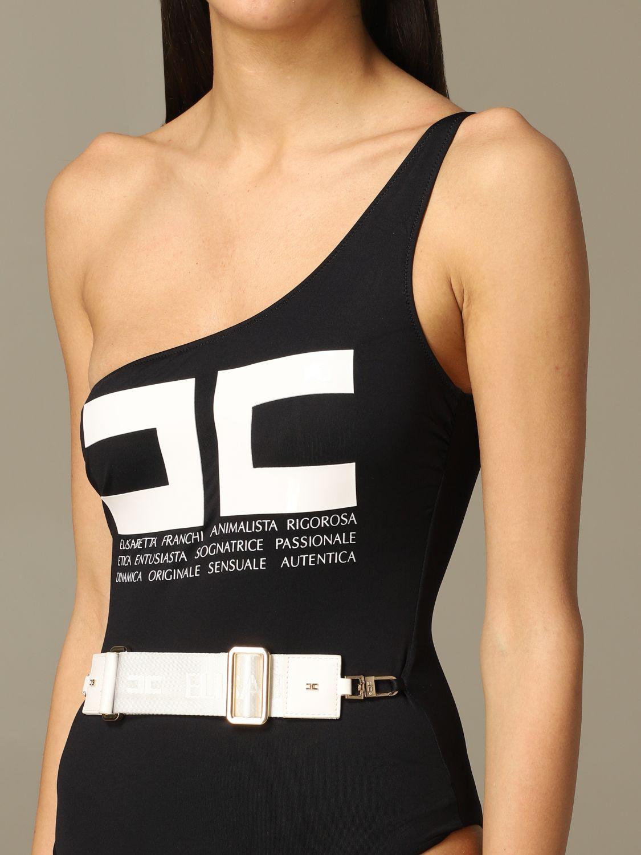 One-shoulder Elisabetta Franchi swimsuit black 3