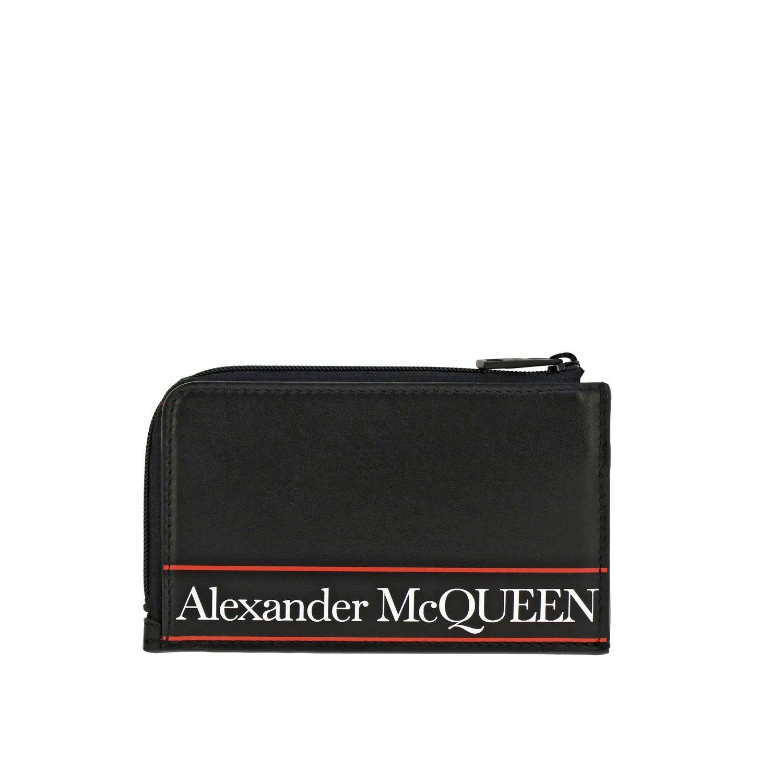 Portmonnaie Alexander Mcqueen: Alexander Mcqueen Kreditkartenetui aus Leder mit Logo schwarz 1