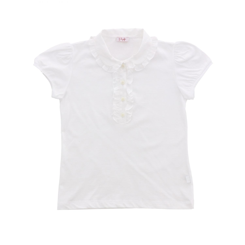 POLO衫 Il Gufo: Il Gufo 飞边领口短袖POLO衫 白色 1