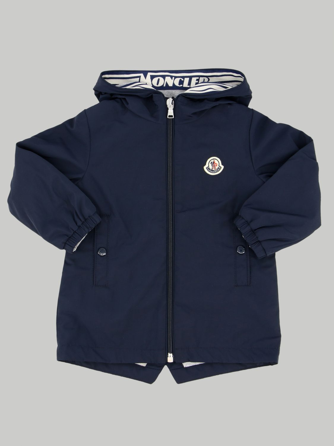 Moncler jacket with hood and logo blue 1