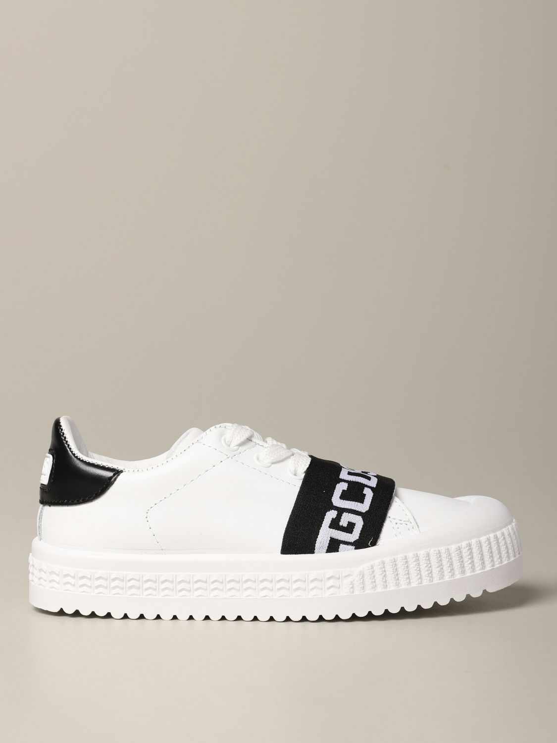 Shoes Gcds: Gcds leather sneakers with band and logo black 1