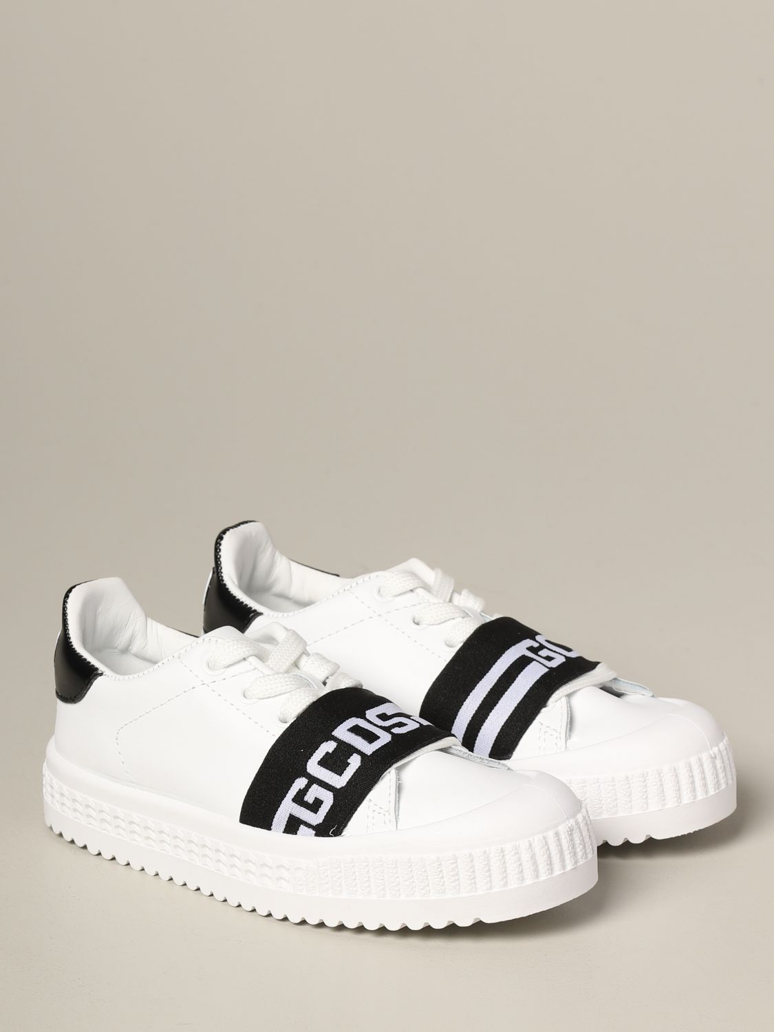 Shoes Gcds: Gcds leather sneakers with band and logo black 2