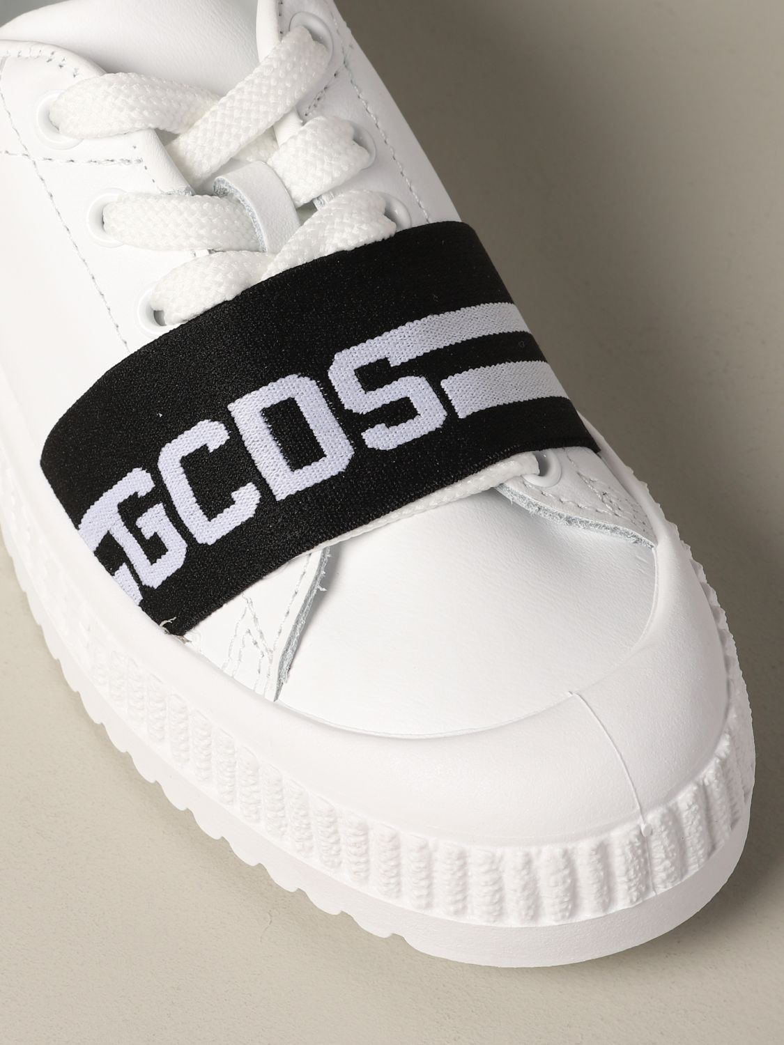 Shoes Gcds: Gcds leather sneakers with band and logo black 4