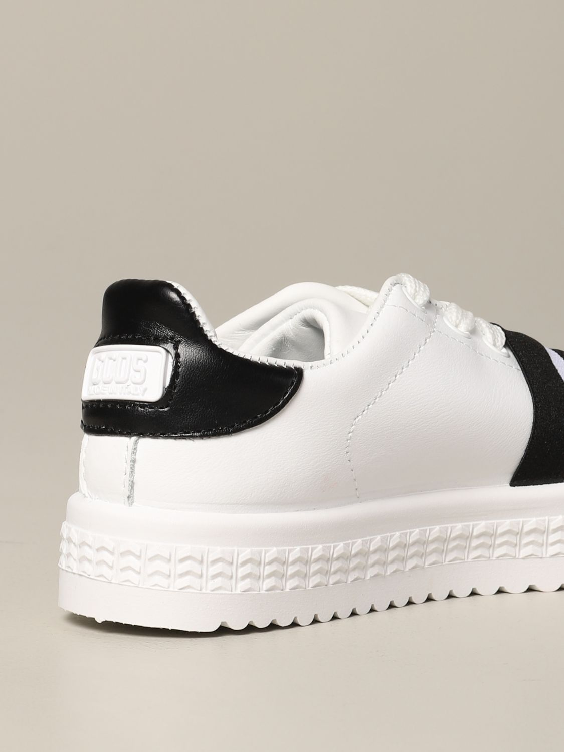 Shoes Gcds: Gcds leather sneakers with band and logo black 5