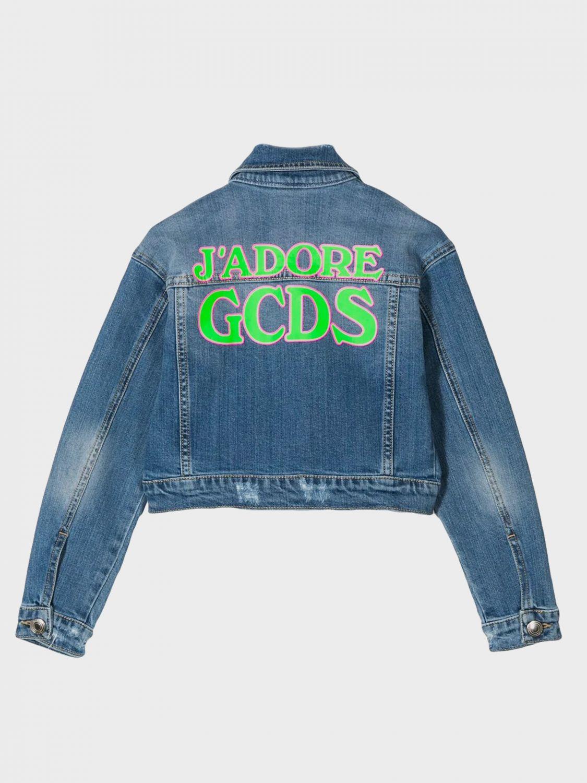 Gcds denim jacket with back logo denim 2