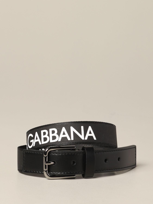 Dolce & Gabbana logo真皮腰带皮带 黑色 1