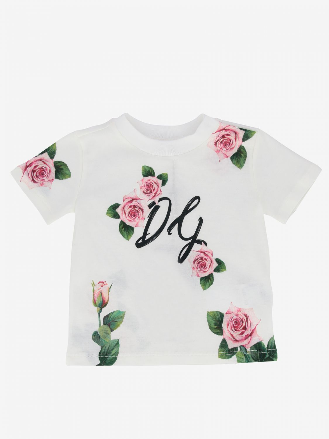 Dolce & Gabbana t-shirt with floral print yellow cream 1