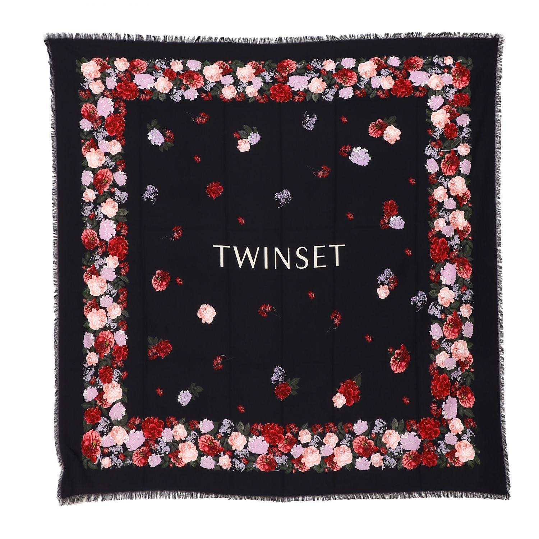 Twin Set Schal mit Blumenmuster schwarz 1