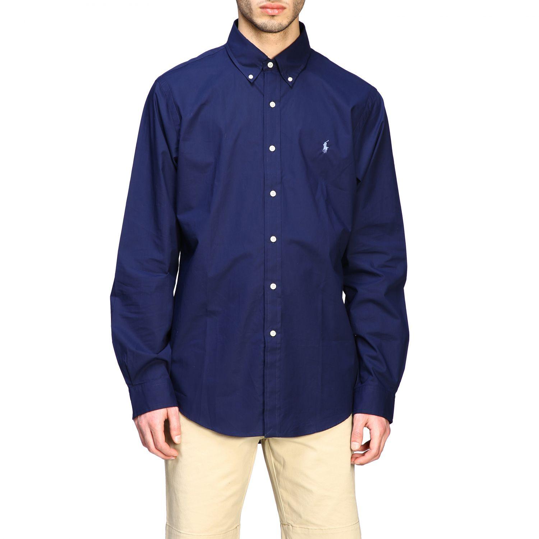 Camicia Polo Ralph Lauren con collo button down blue 1