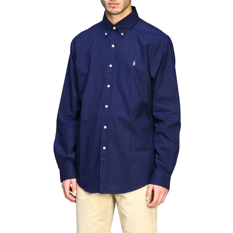 Camicia Polo Ralph Lauren con collo button down blue 4