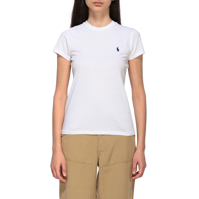 T-shirt Polo Ralph Lauren a girocollo con logo ricamato bianco 1