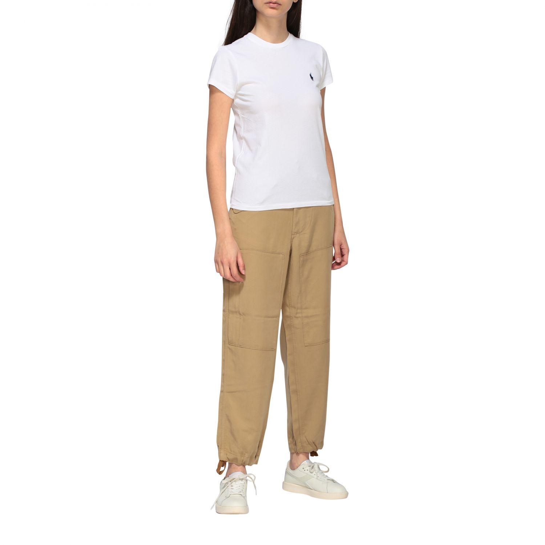 T-shirt Polo Ralph Lauren a girocollo con logo ricamato bianco 2