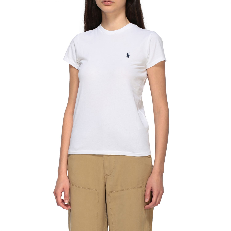T-shirt Polo Ralph Lauren a girocollo con logo ricamato bianco 4
