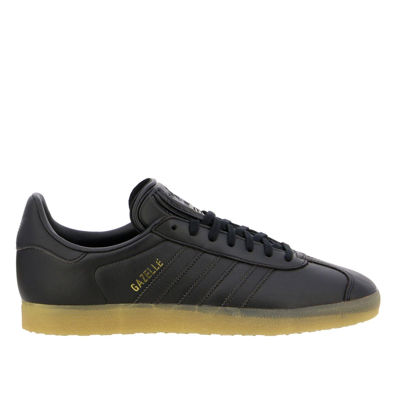 运动鞋 Adidas Originals: Adidas Originals Gazelle logo 真皮运动鞋 黑色 1