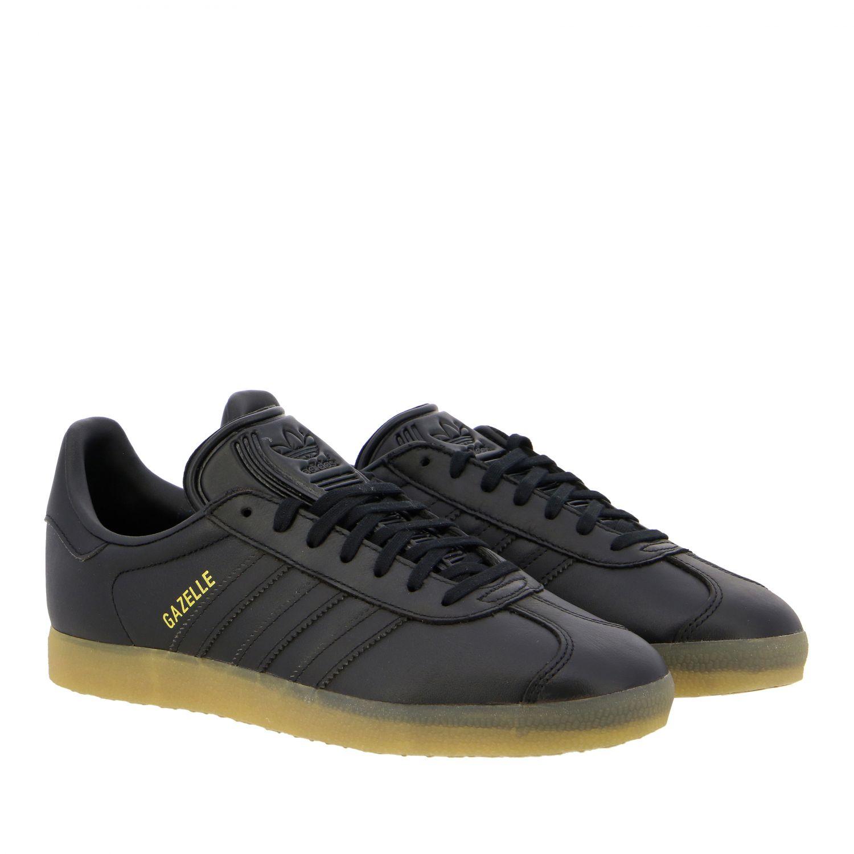 运动鞋 Adidas Originals: Adidas Originals Gazelle logo 真皮运动鞋 黑色 2