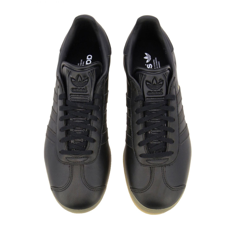 运动鞋 Adidas Originals: Adidas Originals Gazelle logo 真皮运动鞋 黑色 3