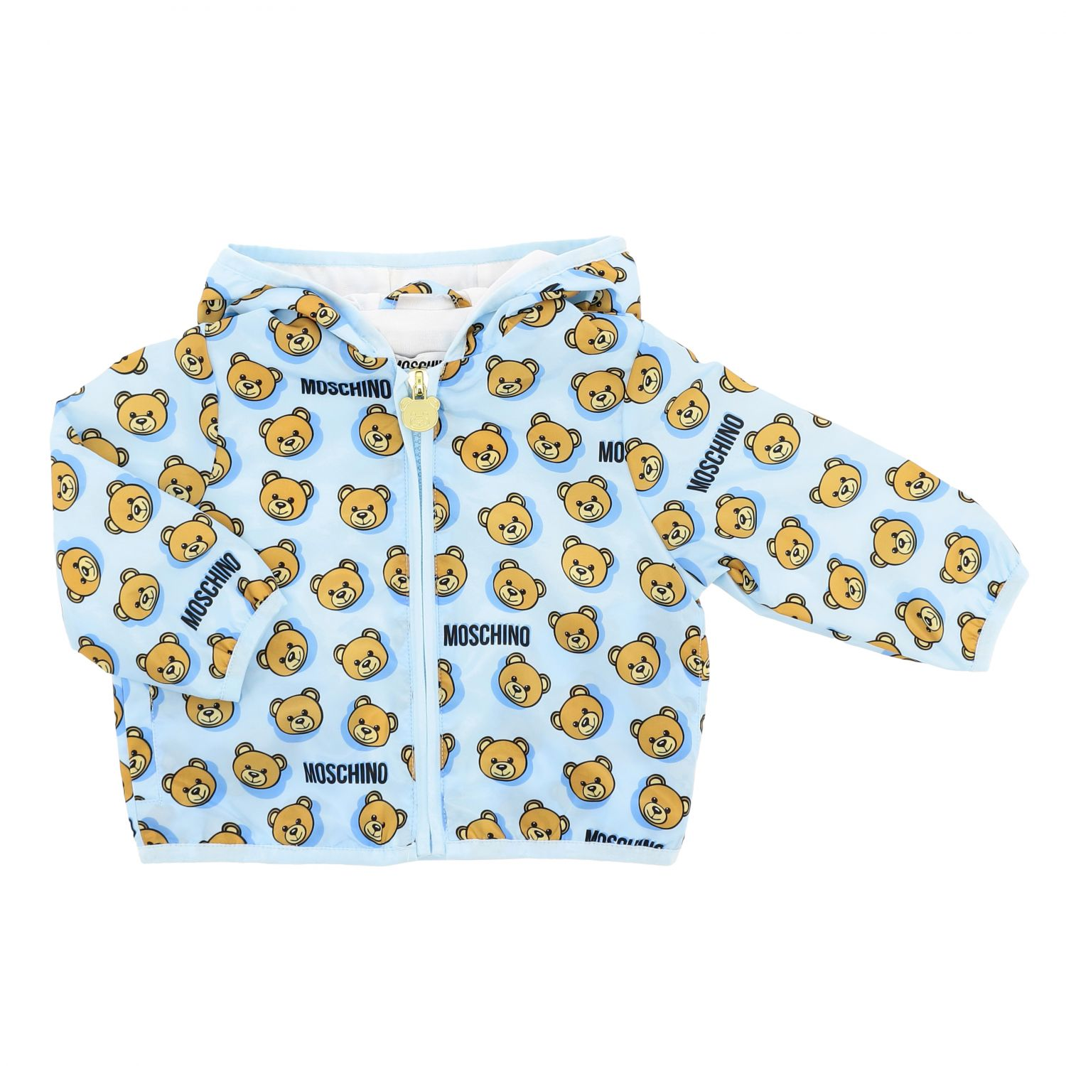 Moschino Baby jacket with hood and teddy print gnawed blue 1